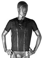 Elastic Tulle Shirt With Leather-Look Application
